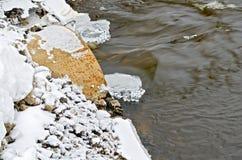 冰和水从一个生锈的管子 免版税库存图片