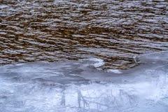 冰和水边缘  免版税库存照片
