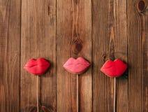 冰嘴唇红色棍子姜饼的假日曲奇饼 库存照片