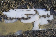 冰在土路的一个泥泞的水坑 库存照片