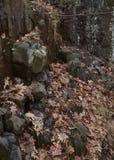 冰在峭壁,山春天,新泽西Lenape足迹 库存图片