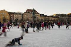 滑冰在斯德哥尔摩 免版税库存图片