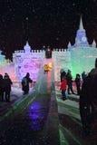 冰在莫斯科显示的在Poklonnaya小山图 圣诞节和Ne 免版税库存照片