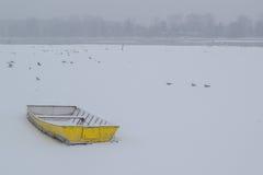 冰在冻多瑙河的capured黄色小船 免版税库存照片