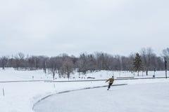 滑冰在Mont的人们皇家,在蒙特利尔,魁北克,加拿大 免版税库存图片