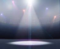 滑冰场体育场聚光灯 库存照片