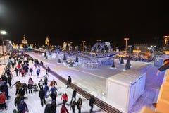 滑冰场在VVC (前HDNH)在圣诞节和新年 莫斯科 免版税库存照片