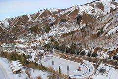 滑冰场Medeu在阿尔玛蒂 库存图片