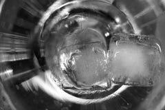 冰块关闭熔化在黑白马蒂尼鸡尾酒的玻璃 免版税库存图片