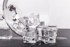 冰块和马蒂尼鸡尾酒玻璃在白色背景 库存图片