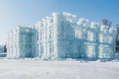 冰堡垒在阳光下 库存图片