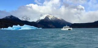 冰山在湖中阿根蒂诺乳状水域  免版税库存照片