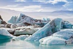 冰山在Jokulsarlon冰河盐水湖 图库摄影