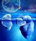 冰山水下的看法  库存图片