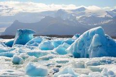 冰山jokulsarlon盐水湖 图库摄影