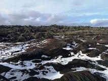 冰岛与雪的鸟瞰图风景 库存图片