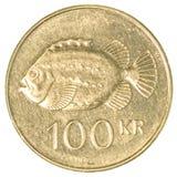 100冰岛克朗硬币 免版税库存照片