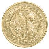 100冰岛克朗硬币 库存图片