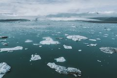 冰岛全景,在土地的鸟瞰图 免版税库存照片