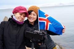 冰岛冬天游人 免版税库存图片