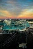 冰岛冰山日落 库存图片