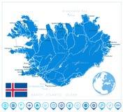 冰岛地图和航海象 库存图片