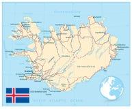 冰岛地图和路 免版税库存图片