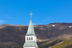 冰岛教会尖顶 库存图片