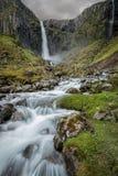 冰岛瀑布和小河 免版税库存照片