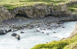 冰岛瀑布在夏天 图库摄影