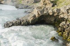 冰岛瀑布在夏天 库存图片