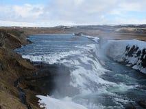 冰岛瀑布在春天 库存图片