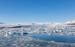 冰岛的南部的冻湖在晚冬期间的 免版税库存图片
