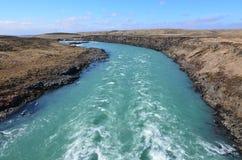 冰岛的国家边有一条流动的河的 图库摄影