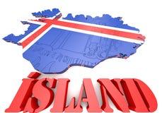 冰岛的地图例证有旗子的 库存图片