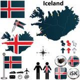 冰岛的地图 图库摄影