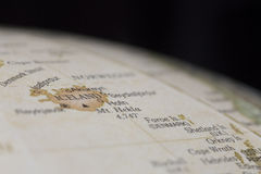 冰岛的宏观地球地图细节 库存照片