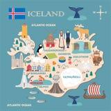 冰岛的风格化地图 库存例证