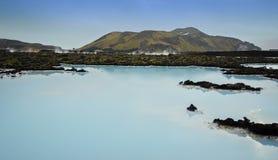 冰岛蓝色盐水湖 图库摄影