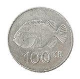 冰岛语100克朗硬币 图库摄影