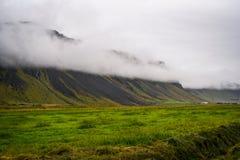冰岛风景、绿色倾斜和山在有雾的总和 库存图片