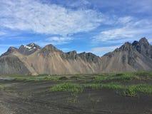 冰岛风景山  免版税库存照片