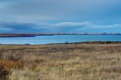 冰岛风景有往雷克雅未克的看法在日出B期间 免版税库存照片