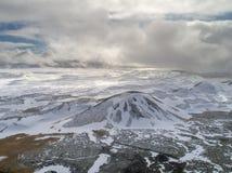 冰岛风景鸟瞰图  免版税库存图片
