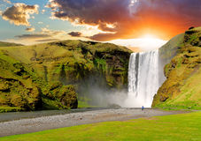 冰岛,瀑布- Skogafoss 免版税库存照片