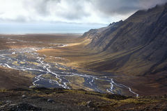 冰岛-在Vatnajokull附近的落寞风景 免版税库存图片
