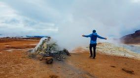 冰岛-蒸喷气孔 库存图片
