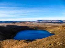 冰岛- hidding在火山火山口的深蓝湖 库存图片