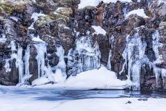 冰岛` s高地的冻河 免版税库存图片