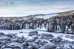 冰岛` s高地的冻河 库存图片